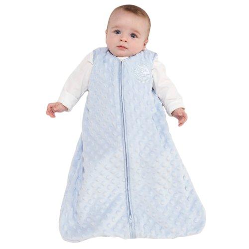 HALO SleepSack Wearable Blanket, Velboa, Blue Plush Dots, Large