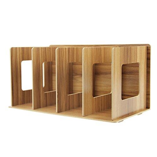 Revistero desmontable pie archivador revistero de madera DIY y organizador coleccionistas Organizador de escritorio con 4compartimentos Catalogo Revista para libro CD plana, color marron
