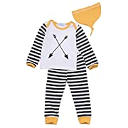 3Pcs Baby Boy Striped Clothing Sets Long Sleeve Outfits with Hat, Multicolored, 0-6 Months