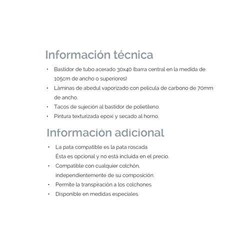 Ventamueblesonline SOMIER Carbono - 90cm x 180cm - 4 Patas: Amazon.es: Hogar