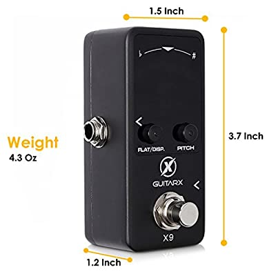 xGuitarx X9 – Guitar Tuner Pedal Mini – Chromatic with Pitch Calibration – Also for Bass – Flat Tuning (Power Supply Required)