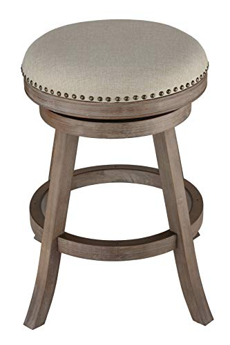 (Cortesi Home Sadie Backless Swivel Counter Stool in Solid Wood & Beige Fabric )