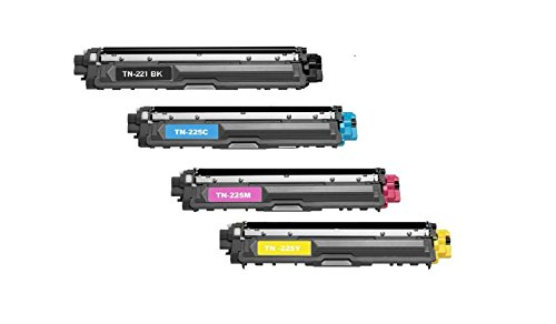 Golden Toner Compatible Brother TN221 TN225 Toner Cartridges Use for Brother HL-3140CW,HL-3170CDW,MFC-9130CW,MFC-9330CDW,MFC-9340CDW- (4 Pack)