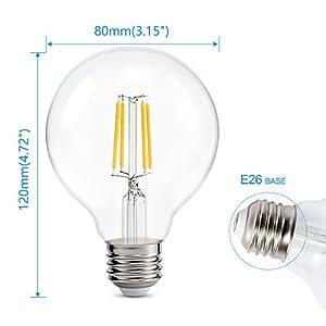 Dimmable Edison Led Globe Light Bulb G25, Warm White 2700K, Bathroom Vanity Light Bulb 4W (40W Equivalent), E26 Base, ETL Listed, Pack of 6