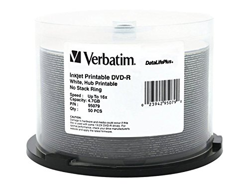 Verbatim 4.7GB up to 16x DataLifePlusWhite Inkjet PrintableHub Printable Recordable Disc DVD-R 50-Disc Spindle 95079