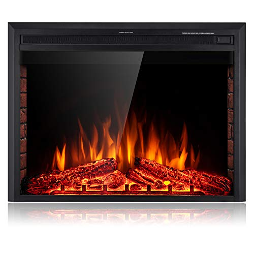 SUNLEI 36'' Electric Fireplace Insert, Freestanding& Recessed Built in Fireplace Electric Heater LED Multi-Color Flame w/Logs, Brick Panel, Touch Screen,Remote Control,Timer, 750W-1500W, Black