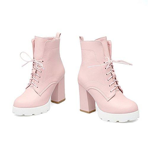 AdeeSu Girls Platform Wheeled Heel Shoes Round Toe Imitated Leather Boots Pink M35wD