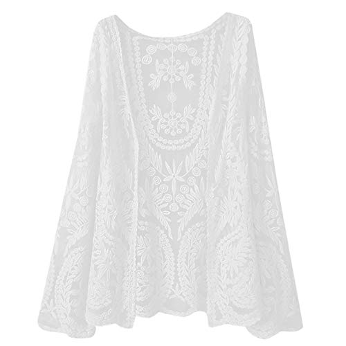 Molyveva Women Lady Lace Smock Coat Seven Quarter Sleeve Blouse Casual  Loose Top a3e1a8a4156f