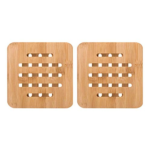 2Pcs Cup Coasters Heat Resistant Multifunctional Bamboo Trivet Mat Pad Hot Pot Holder Pads for Kitchen Home Restaurant (Gingerbread Pot Holder)