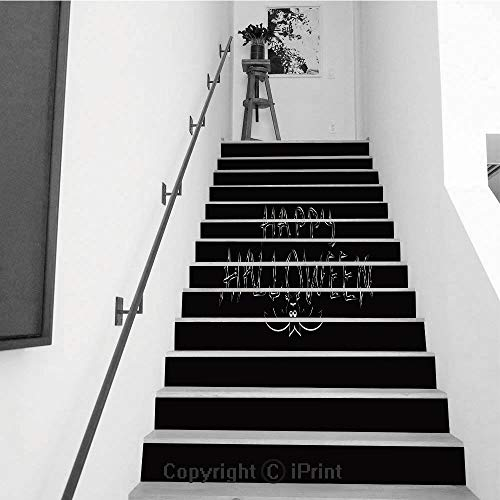 Stair Stickers Wall Stickers,13 PCS Self-Adhesive,Make Your Home Unique,Congratulation Happy Halloween Inscription