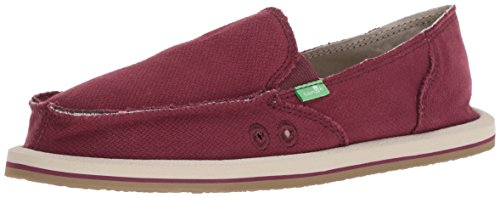 Sanuk Women's Donna Hemp Loafer Flat, Burgundy, 08 M US
