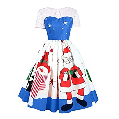 kaifongfu Women Merry Christmas Vintage Claus Print Lace Dress for Evening Party