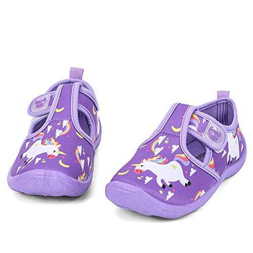 (nerteo Girls Beach Shoes for Water Sport, Comfort Walking Sneakers Sandals for Outdoor, Camp/Pool Swim Purple/Rainbow/Unicorn US 2 Little Kid)