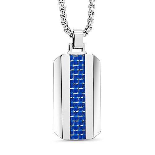 Blue Carbon Fiber Tungsten Carbide Dog TAG Pendant ON 3MM Stainless Steel Box Chain Necklace