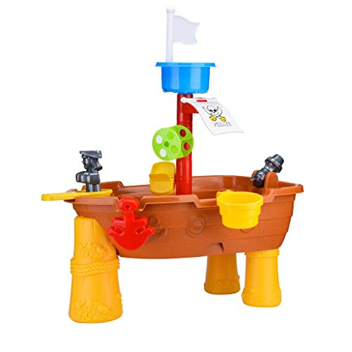 LONGZUYS  Pirate Ship Sand Water Table, 24PCS Beach Sand Children Summer Beach Toy Kids Activity Table Sand Tray Box Splash Game Table for Boys and Boys and Girls Children's Day ()