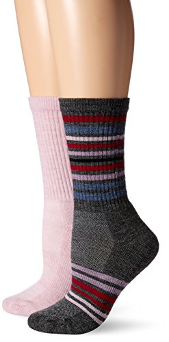 (High Ridge Gear Women's High Ridge Gear Hiker Sock 2 Pack, Orchid Charcoal Stripe/Charcoal Stripe,)