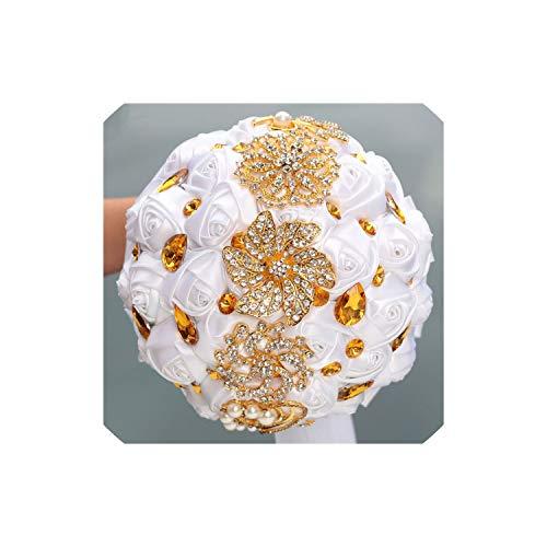(Wedding Bouquet 8 Styles White Wedding Bride Holding Flowers Artificial Bouquet Ribbon Rhinestone Pearl Bouquet Decoration Bride Groom Dance,Style)
