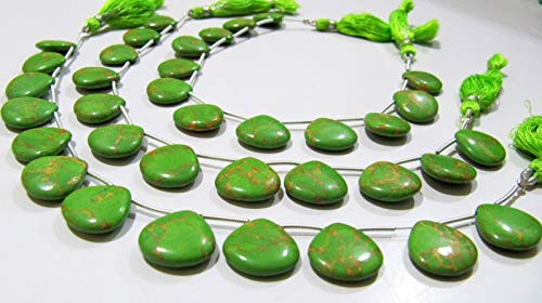 AAA Quality Green Copper Turquoise Heart Shape Plain Smooth 14-15mm Beads Strand 8 ()
