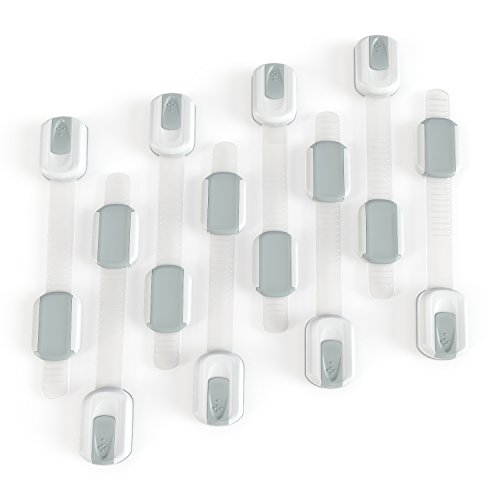 8 Pack Adjustable Child Safety Cabinet Locks - Easiest Installation - Safe Home For Your Baby - 3M Adhesive - No Tools or Drilling
