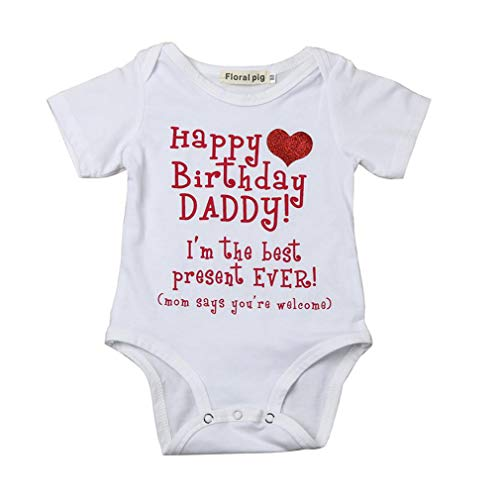 Krastal Baby Clothes Bodysuit Short Sleeve Happy Birthday Daddy Lovely Print 6M-24M Jumpsuit