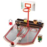 Game Night Made of Glass, Plastic and MDF Drinking Basketball Game Set- Includes one game board, four shooters and one shooter caddy