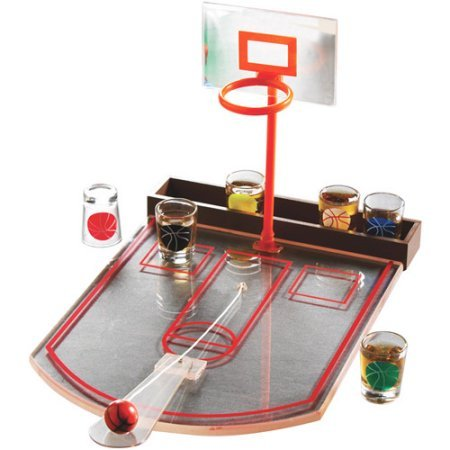 Game Night Made of Glass, Plastic and MDF Drinking Basketball Game Set- Includes one game board, four shooters and one shooter caddy by Unknown
