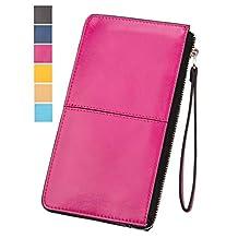 ChinFun Women's Faux Leather Zipper Wristlet Purse Clutch Wallets Card Holder