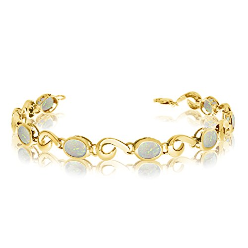 14K Yellow Gold Oval Opal Bracelet 14k Yellow Gold Opal Bracelets