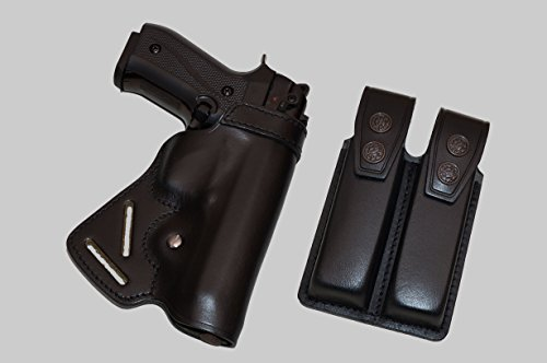 Magazine Handmade (ALIS71103 Small of Back Leather Holster & Double Magazine Pouch Fits Colt 1911 RH Handmade! (BLACK))