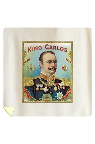 King Carlos Brand Cigar Outer Box Label - King Juan Carlos I of Spain (88x88 Queen Microfiber Duvet Cover) by Lantern Press