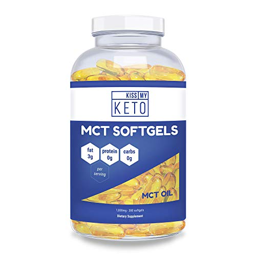 Kiss My Keto MCT Oil Capsules - Coconut Oil Softgel Pills, 300 Count, Best MCT Oil Keto Diet Pills, Caprylic Acid C8 + Capric Acid C10 Medium Chain Triglycerides Ketosis Diet Supplement (Best Tank For Cannabis Oil)