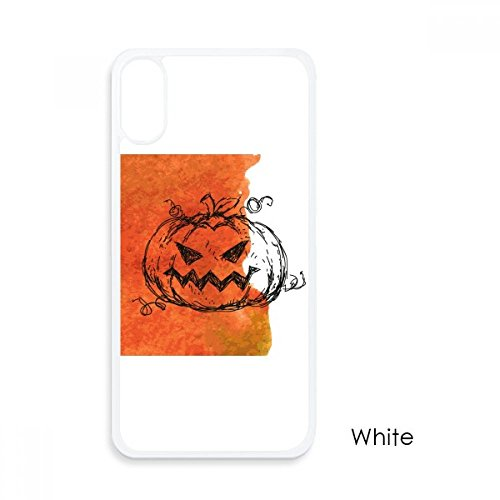 - Hand Painted Pumpkin of Halloween for iPhone X Cases White Phonecase Apple Cover Case Gift