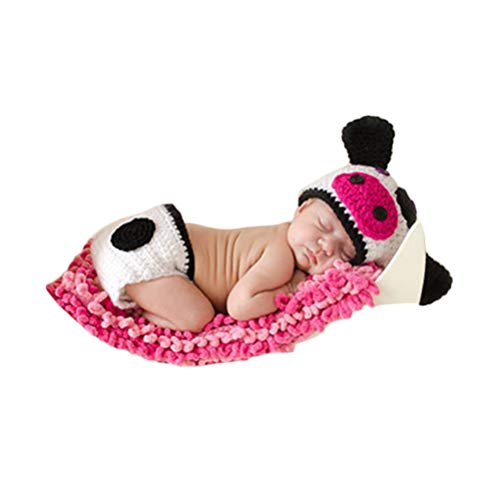 - Newborn Baby Photo Prop Boy Girl Photo Shoot Outfits Crochet Knitted Clothes Cows Hat Shorts Set Photography Shoot