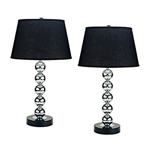 Aeo aeo lt6257 2pk table lamp set of 2 black shade - Black table lamps for living room ...