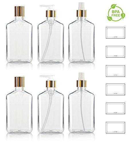 8 oz / 250 ml Clear PET (BPA Free) Plastic Oblong Flask Style Refillable Bottle Set with Gold Tops ; Includes 2 of each Fine Mist Sprayers, Disc Caps, and Lotion Pumps