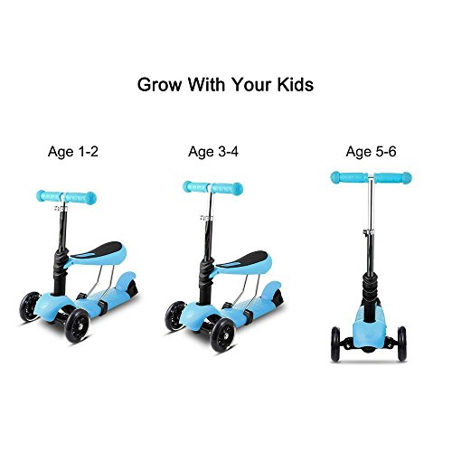 Garain 3-Wheel Kids Kick Scooter with LED Flash up Wheel, Height Adjustable, 5-in-1 Macro Mini Kick Scooter [US STOCK] (Blue)