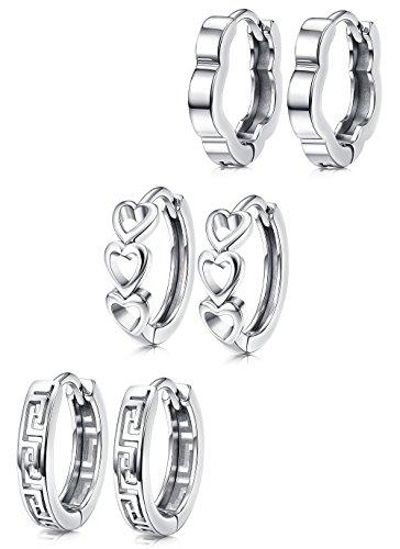 Hanpabum White Gold Plated Huggies Earrings Small Hoop Earrings Set Hollow Heart Flower Geometry Cartilage Earrings for Women