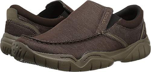 (Crocs Men's Swiftwater Casual Slip-On Loafer Flat, Espresso/Walnut, 9)