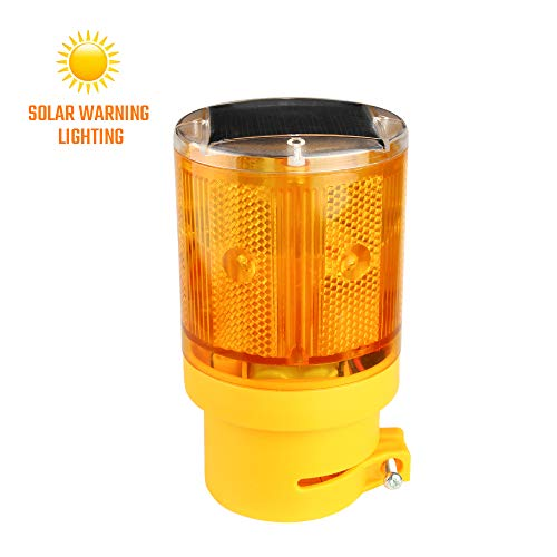 Sondiko Warning Light, Solar Hazard Warning Lights with 6 LED Lights, LED Strobe Beacon Light Construction Signs Flash Traffic Lights for Traffic Construction, Crane Tower, House, Garden