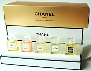 Chanel Fragancia Clóset Miniatura Set De Regalo De 5 Cinco Parfum Chanel No 5 Coco Mademoiselle Allure No 19 Coco Chanel 0 12 Fl Oz 3 5 Ml Cada Perfum Beauty