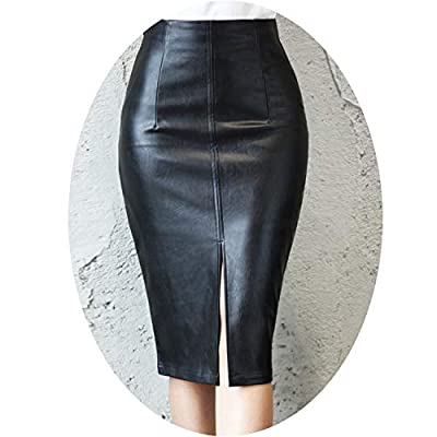 Superb Zone Women PU Leather Midi Skirt Autumn Winter Ladies Package Hip Front or Back Slit Pencil Skirt Plus Size SK8760