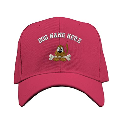 Custom Baseball Hat with Bone Embroidery Dog Name Acrylic Structured Cap Hook & Loop - Hot Pink, Personalized Text Here