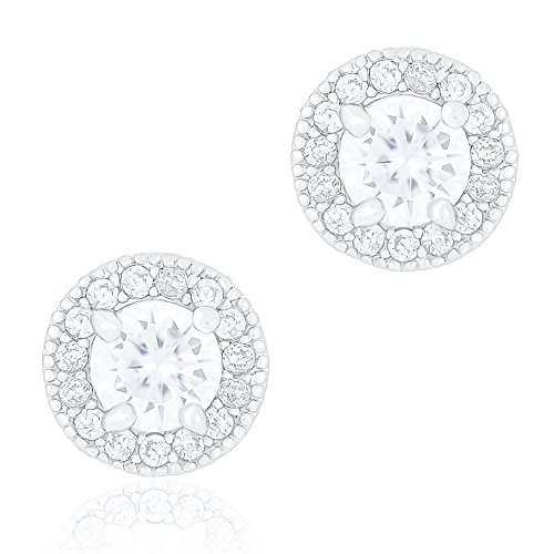 18k White Gold Plated Cubic Zirconia Round Halo Stud Unisex Earrings (0.50 carats) by Orrous & Co.