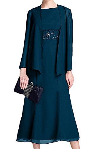 Brautmutterkleider La Abendkleider Blau Navy Ballkleider Elegant Marie Bolero Langarm Braut Blau Knielang mit Tinte rwrq86