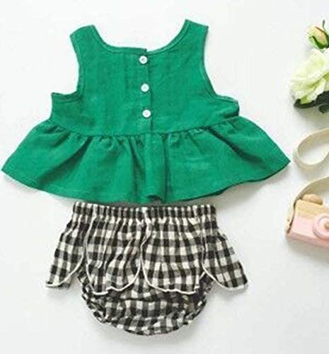 2PCS Toddler Baby Girls Plaid Outfit Sleeveless Green Ruffle Tube Top and White Black Plaid Ruffle Shorts Clothes Set