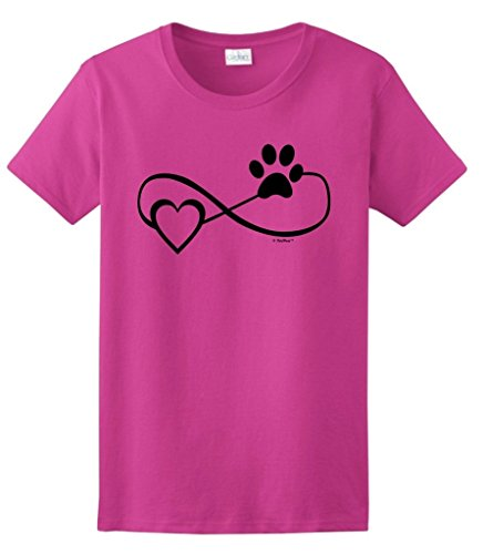 Dog Cat Lover Gift Infinite Love Infinity Symbol Ladies T-Shirt 2XL Hlcna