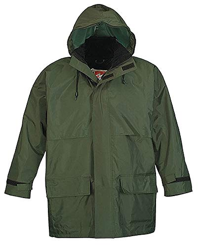 Viking Men's Green 150D Rip-Stop Polyester 3-Piece Rainsuit with Hood, Size: XL, Fits Chest Size: 48