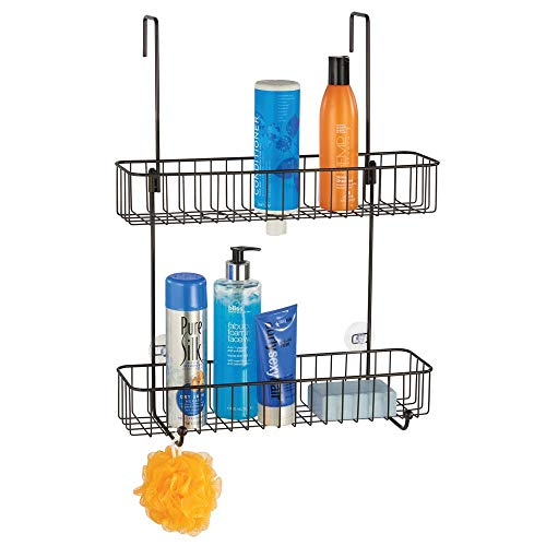 mDesign Extra Wide Metal Wire Over The Bathroom Shower Door Caddy, Hanging Storage Organizer Center with Built-in Hooks and Baskets on 2 Levels for Shampoo, Body Wash, Loofahs - Bronze (Shower Caddy Bronze Over The Door)