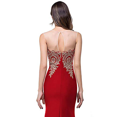 Mermaid Evening Appliques Lace Abiti Damigella Formal Donna Maxi D'onore For Size Auming Vestito S Red Da Women Green Sleeveless Lunghi Lungo Dress color 4wqItxf