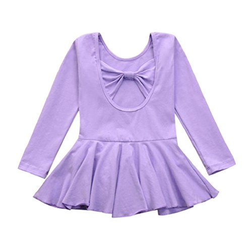eZEO_Baby Dresses eZEO Girls Dancewear Bodysuit Leotards For Dance and Ballet Girls Outfits (24M, Purple)